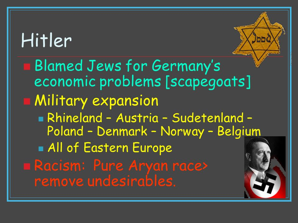 Hitler Blamed Jews for Germany's economic problems [scapegoats]